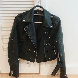 Vegan Star Studded Leather Jacket